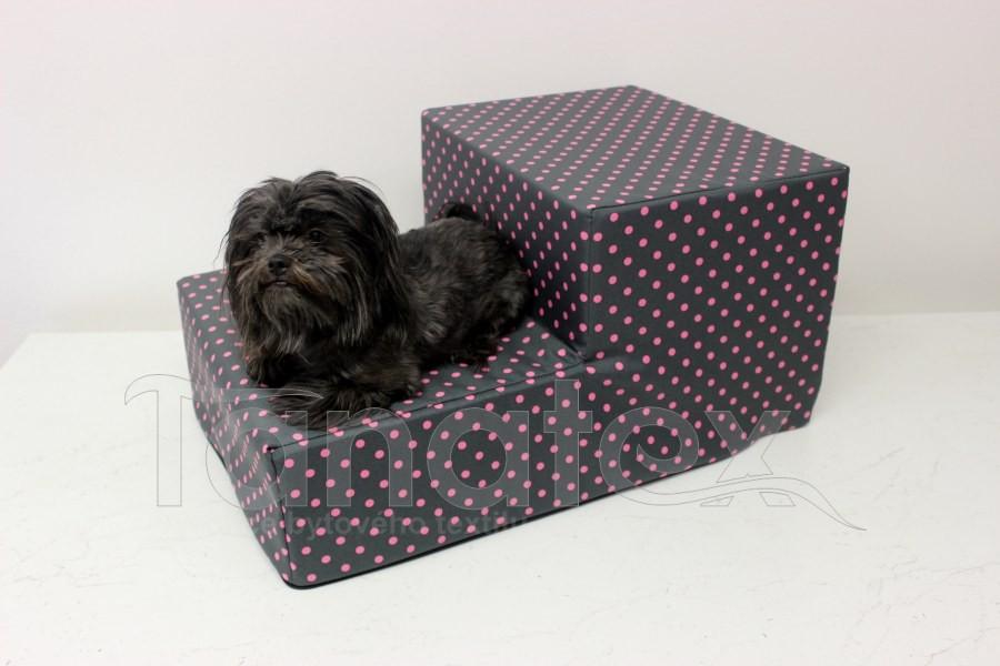Schody pro psa Růžové puntíky
