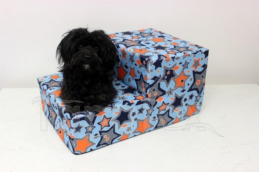 Schody pro psa Galaxie oranžová na modré
