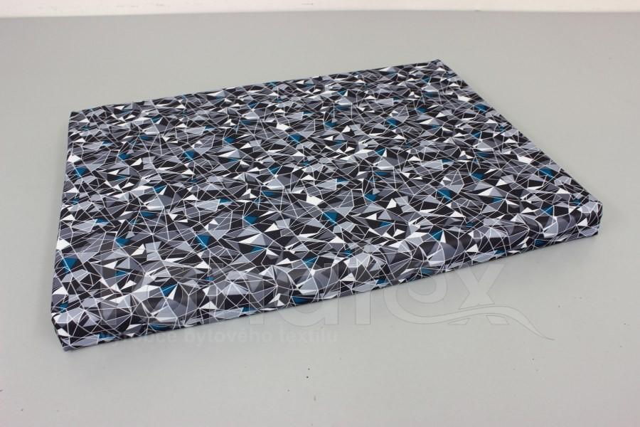 Vyšší podložka - 50x70cm šedé diamanty s tyrkysovou