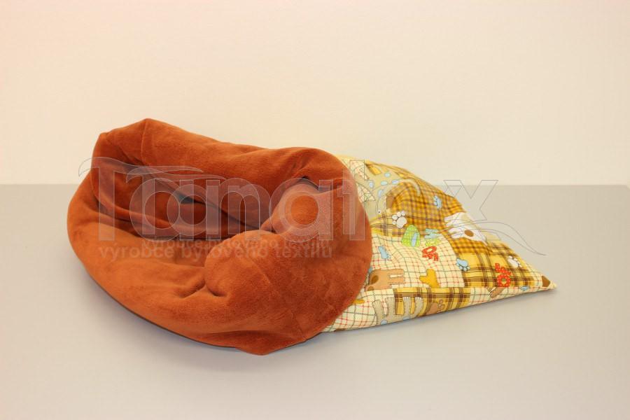 Chumlací pytel - malý - Pejsek a kostička - uni rezavé mikro - Chumlací pytel malý