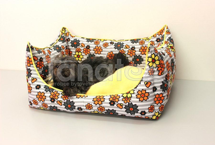 Lodička oranžové květy v pruzích - Lodička