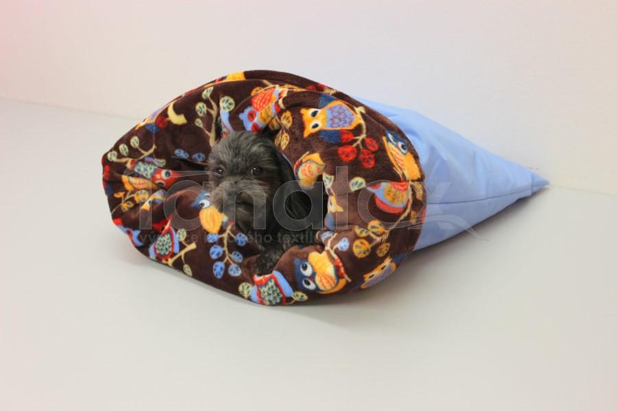 Chumlací pytel - malý - Uni modrý - mikro sovičky hnědé - Chumlací pytel malý