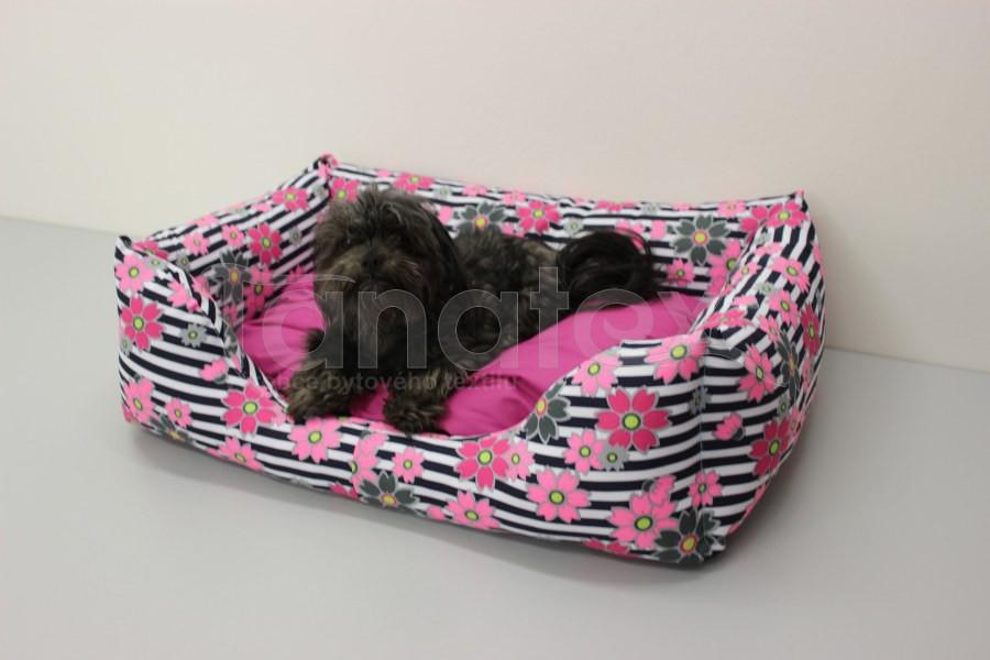 Obdelníček malý - kočárkovina růžové květy v pruzích - polštář fuchsiový - Obdelníček