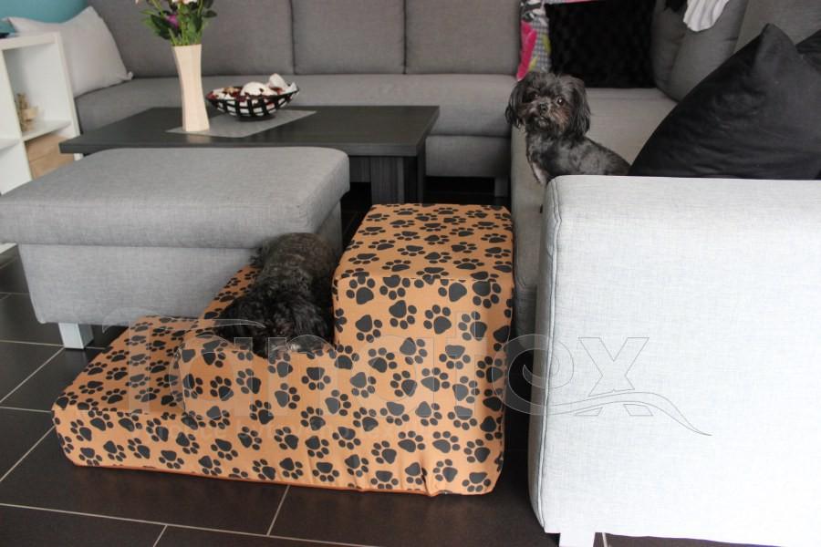 Schody pro psa Hnědé stopy - MAXI - Schody pro psy