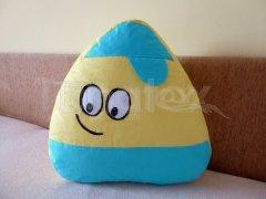 Polštářek - bavlněný velký Pou s čepicí - žlutý s tyrkysovou Polštář POU - Pou polštářek velký - Pou velký klasik