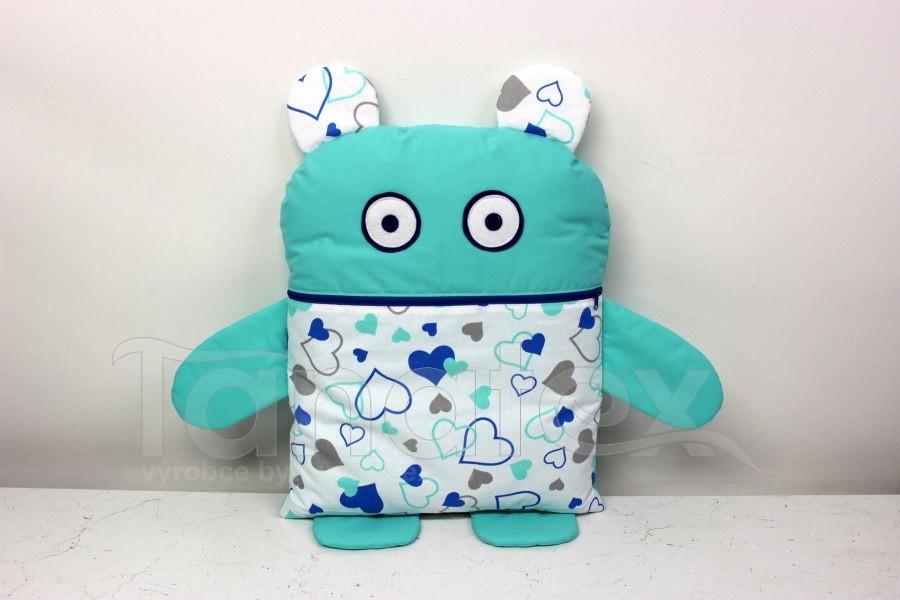 Pyžamožrout - Aquamarinový se srdíčky v perokresbě - Pyžamožrout - Žrout snů
