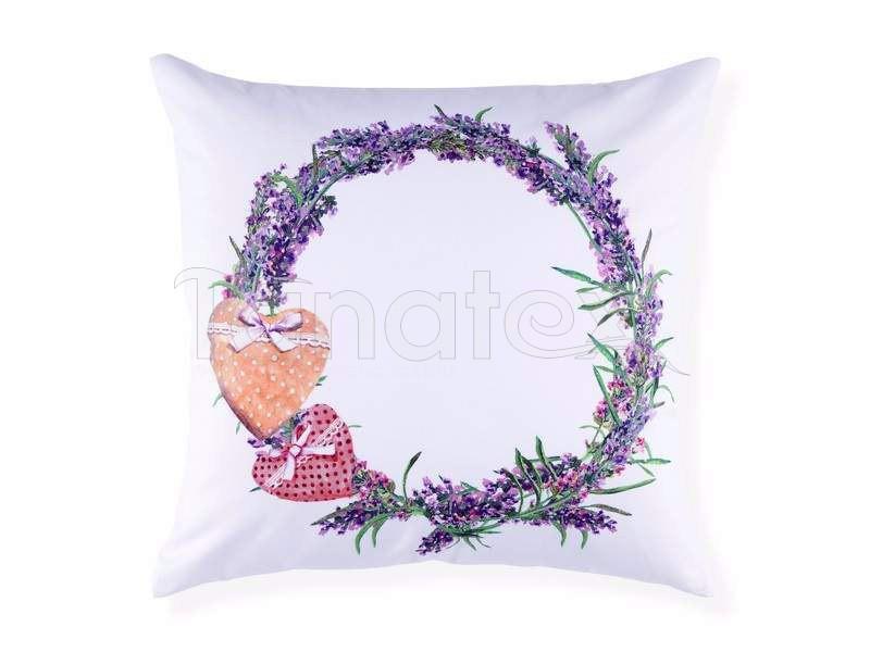 Polštář věneček s levandulí na bílé - Levandule