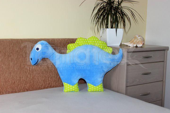 Polštářek mikro nebo bavlna dinosaurus modrý