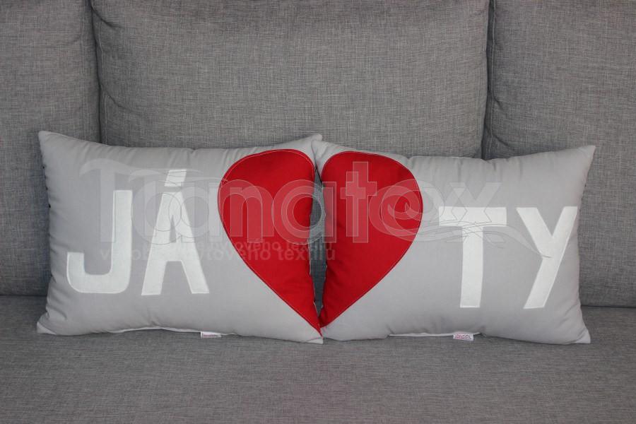 Sada 2 polštářků JÁ+TY- šedá - Srdce a pro zamilované