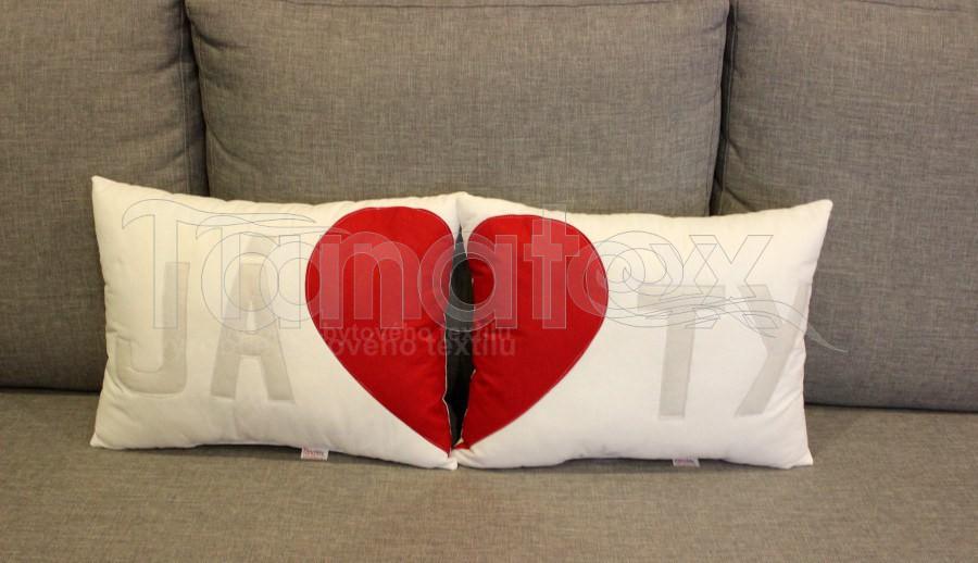 Polštářek JÁ - bílý - Srdce a pro zamilované
