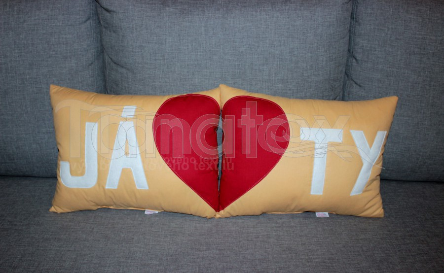 Sada 2 polštářků JÁ+TY - písková - Srdce a pro zamilované