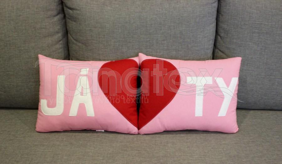 Sada 2 polštářků JÁ+TY - růžová - Srdce a pro zamilované