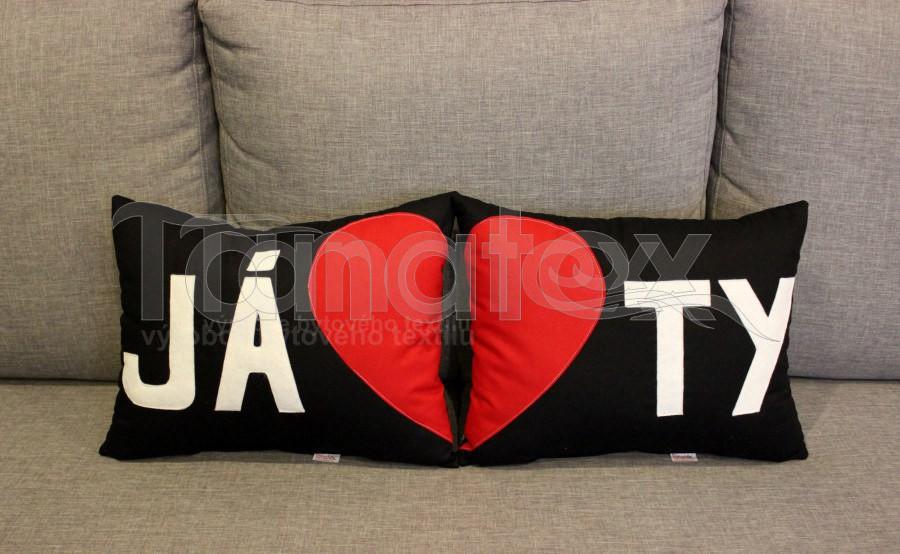 Polštářek TY - černý - Srdce a pro zamilované
