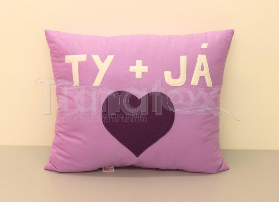 Polštář TY a JÁ - fialový - Srdce a pro zamilované
