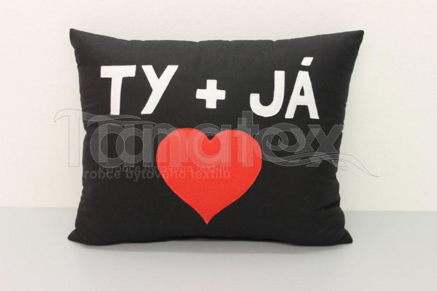 Polštář TY a JÁ - černý - Srdce a pro zamilované