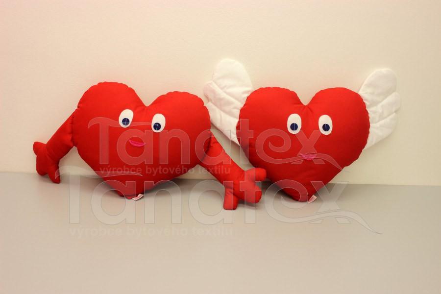 Polštářek srdíčko s aplikací - Srdce a pro zamilované
