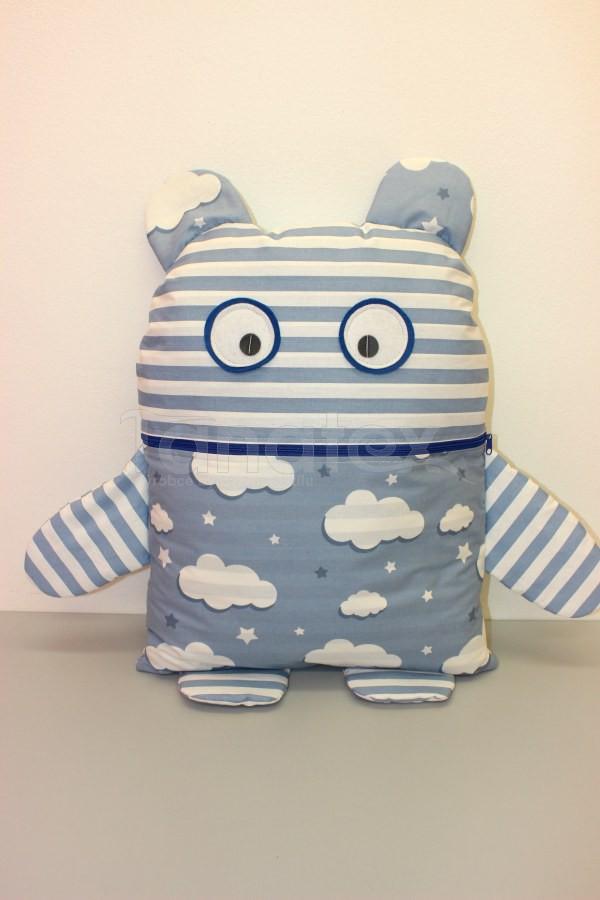 Pyžamožrout - Strašidýlko modré s pruhy a obláčky