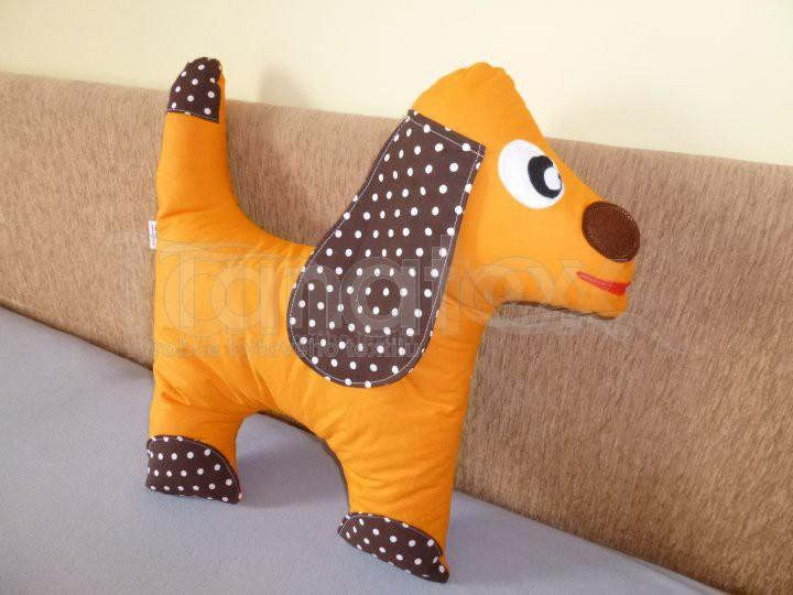 Polštářek bavlněný pejsek oranžový - Zvířátka