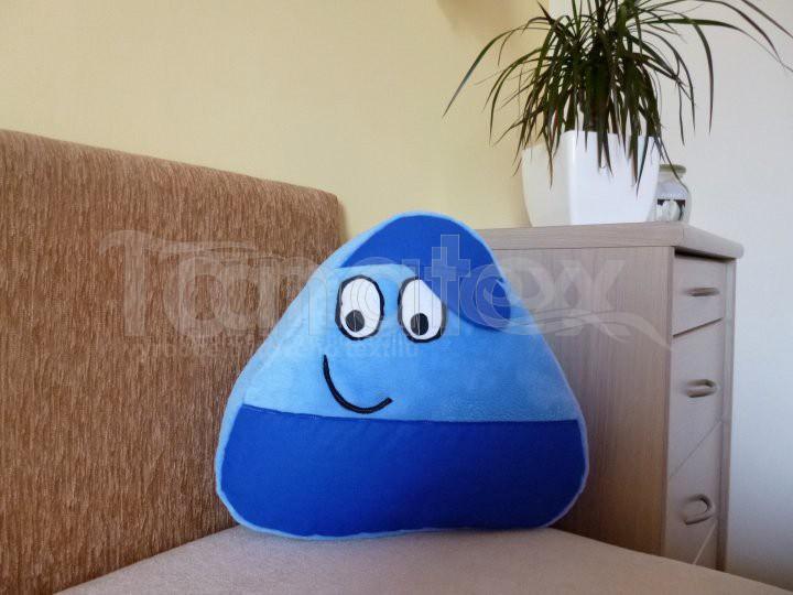 Polštářek - mikro Pou kluk - modrý s  modrou čepicí