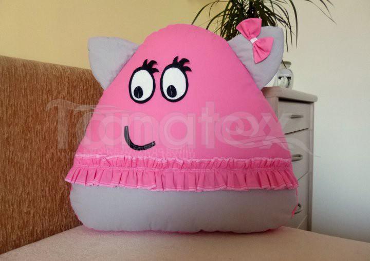 Polštářek - bavlněný velký Pou se sukýnkou - růžový se šedou - Pou velký klasik