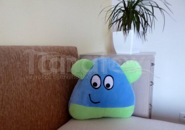 Polštářek - mikro Pou s ušima - modrý se zelenou
