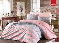 Povlak Růžové hvězdy v šedých pruzích povlak bavlna