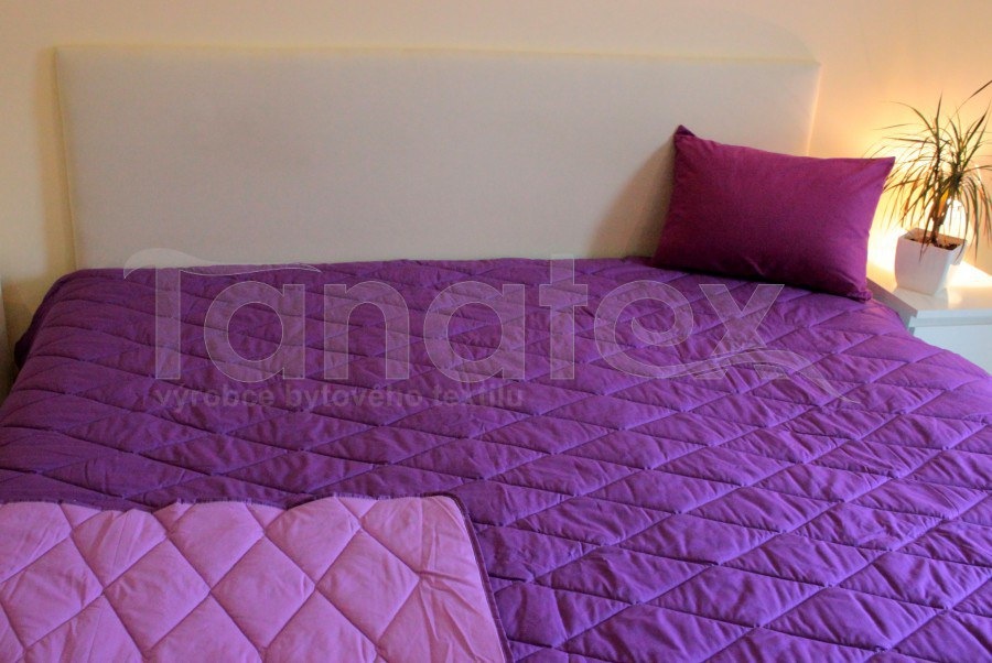 PŘEHOZ 100%bavlna - Uni fialový - tmavě fialový - přehoz na dvojlůžko