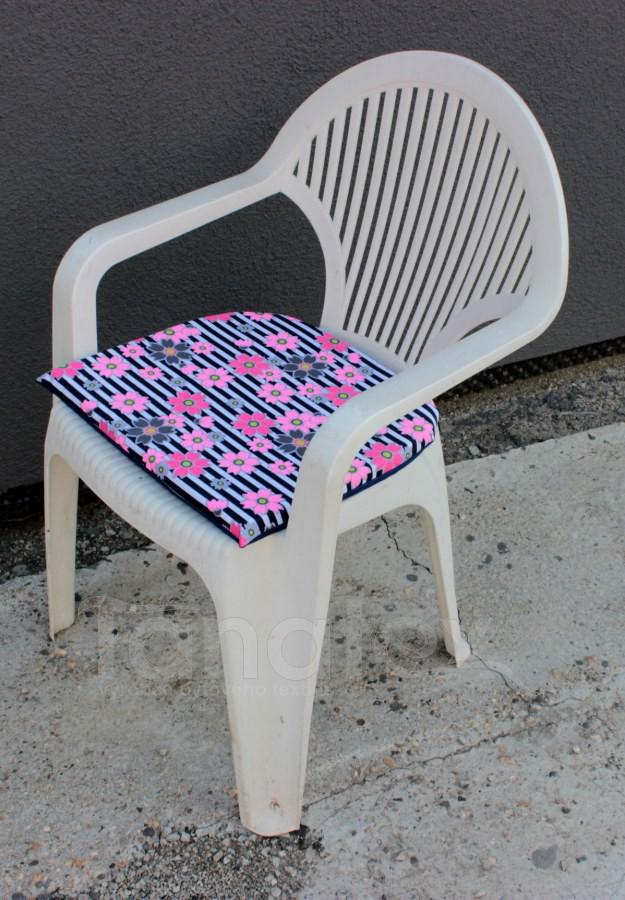 Sedák na zahradní židli - Květy růžovošedé - sedák na zahradní nábytek