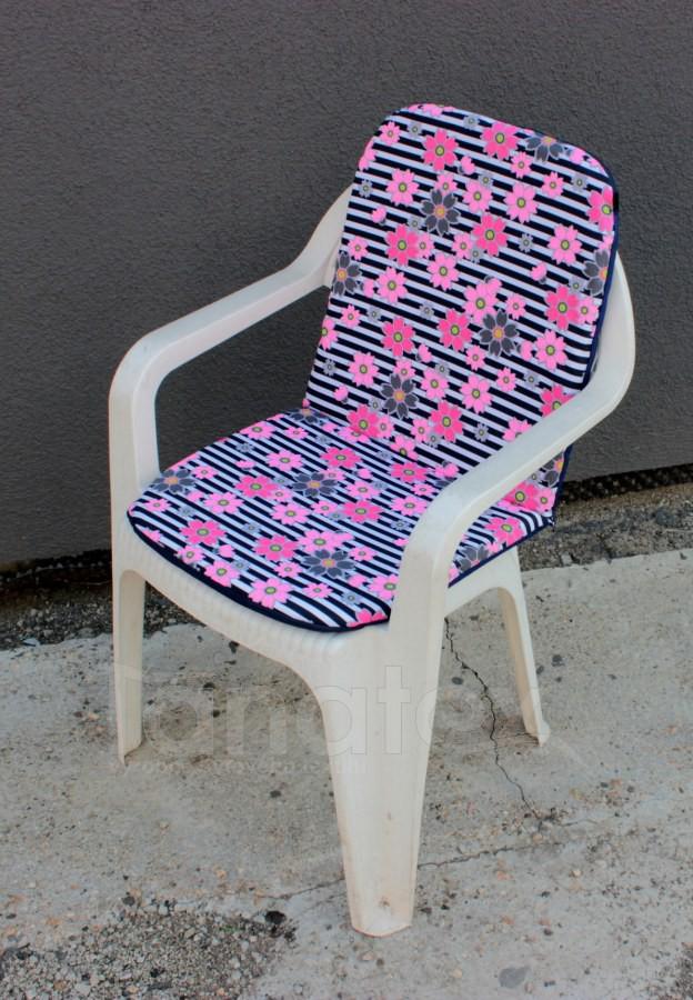 Sedák na zahradní židli s opěrkou na záda - Květy růžovošedé - sedák na zahradní nábytek