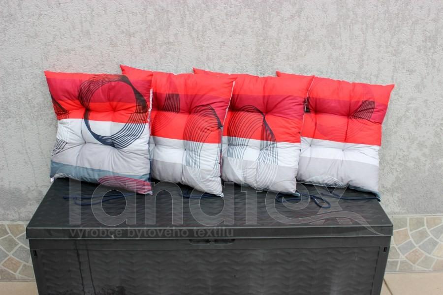 Sedák Spirály na červené a šedé - sedák klasik