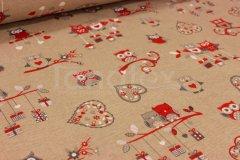Šála 40x140 vánoční sovičky Vánoční ubrusy a šály