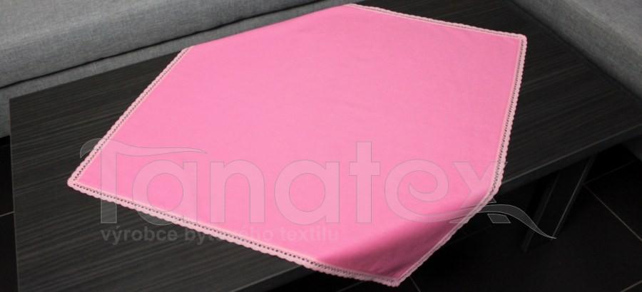 Ubrus  s krajkou - růžový + růžová krajka
