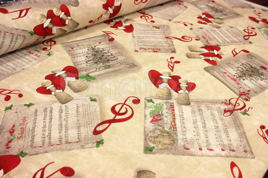 Ubrus 70x70 vánoční andílci na béžové - Vánoční ubrusy a šály
