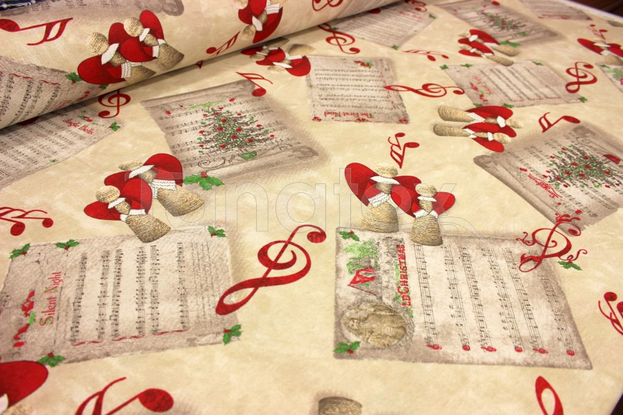 Šála 40x140 vánoční andílci na béžové