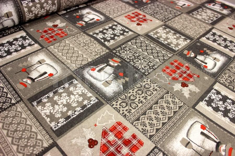 Ubrus 70x70 vánoční sněhuláci na šedé