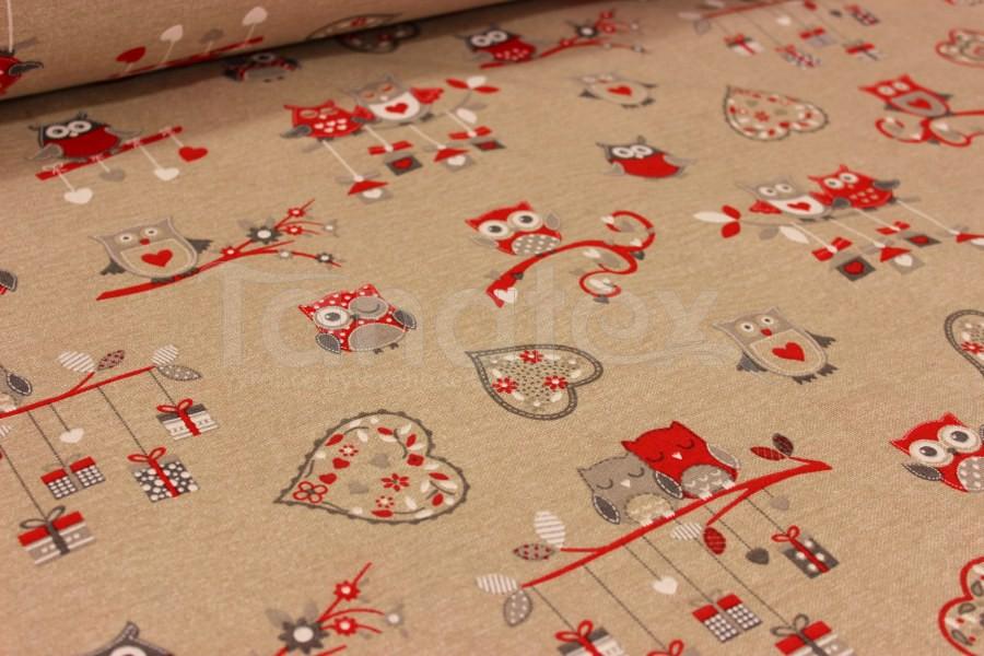 Ubrus 70x70 vánoční sovičky