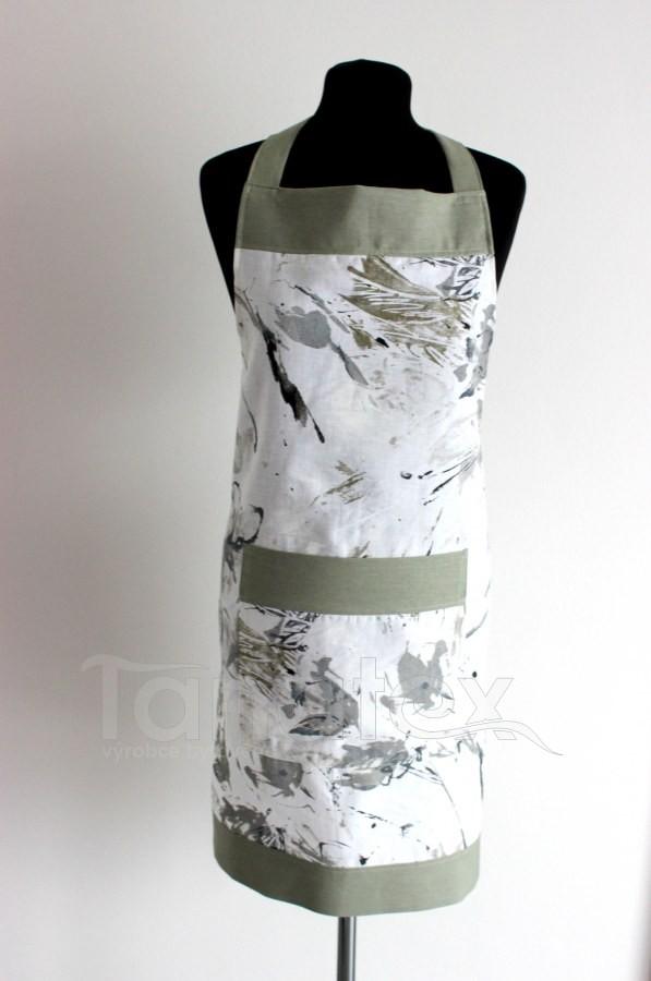 Zástěra abstraktní čmouhy - olivový lem