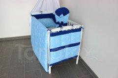 Mantinel do postýlky Srdíčka v perokresbě modrá - royal modrá Mantinely do postýlky - Mantinel klasik