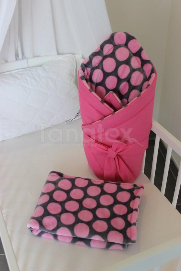 Deka de luxe Růžové puntíky - Deka do kočárku