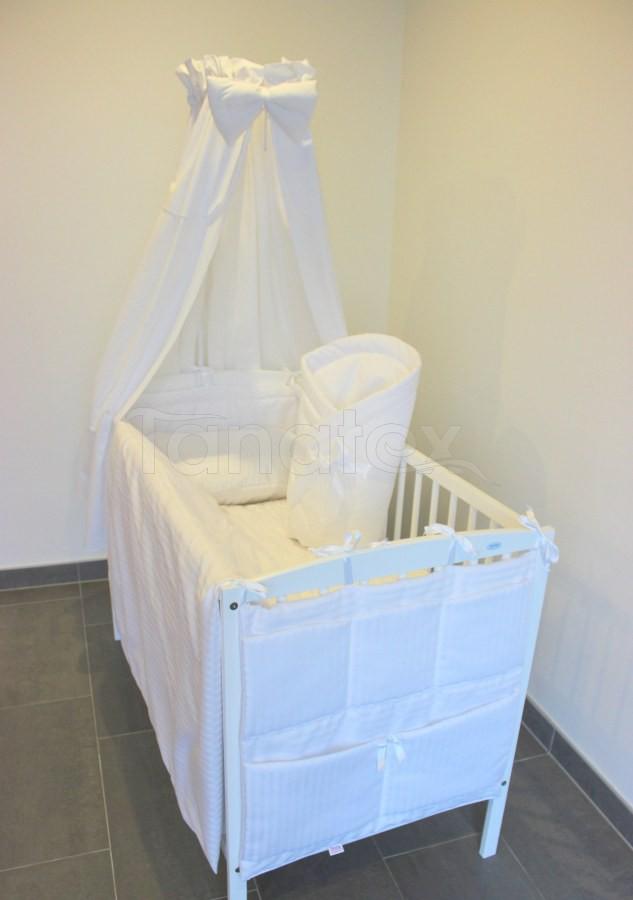 5 ti dílná sada Bílý saténový proužek - bílá mašle - Zvýhodněné sady pro miminko