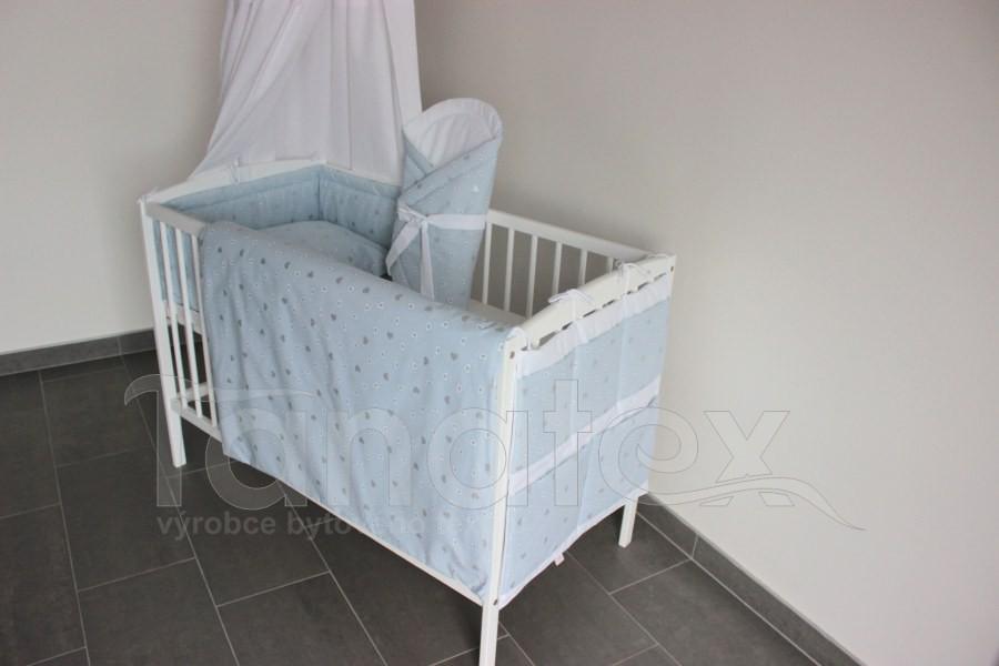 5 ti dílná sada Šedá a bílá srdíčka v modré - Zvýhodněné sady pro miminko