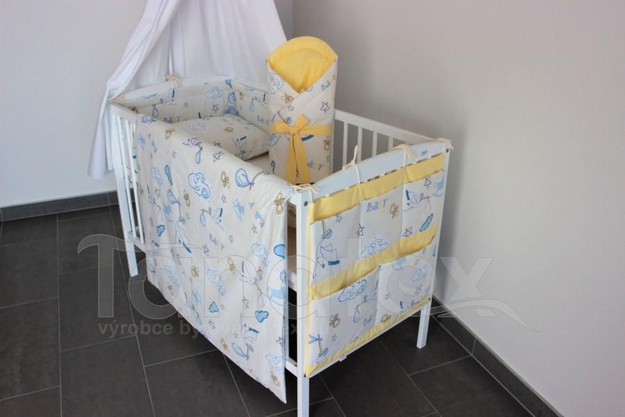 5 ti dílná sada Čáp s miminkem se žlutou - Zvýhodněné sady pro miminko