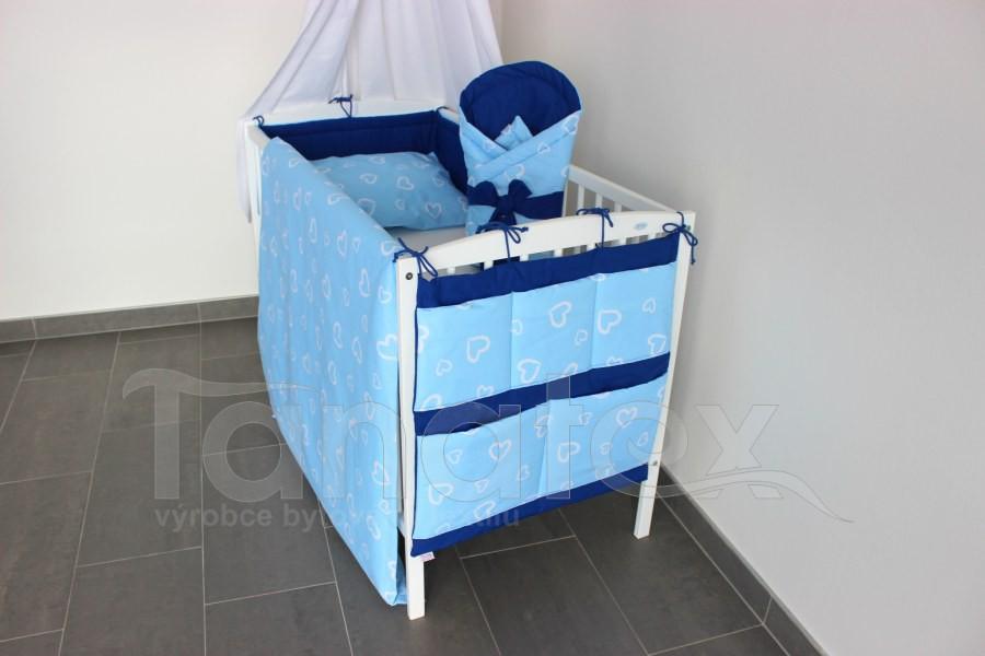Mantinel do postýlky Srdíčka v perokresbě modrá - royal modrá - Mantinel klasik