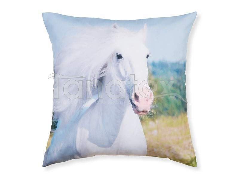 Fotopolštář bílý kůň - Fotopolštář zvíře