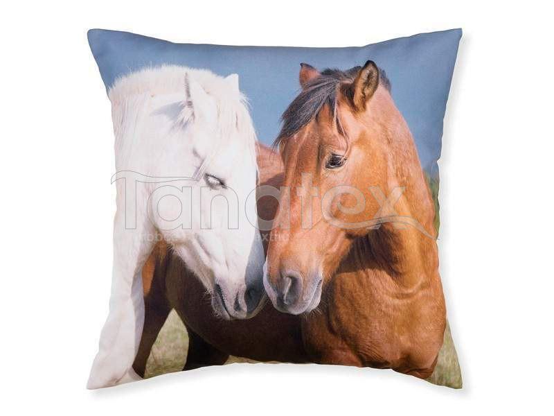 Fotopolštář hnědý a bílý kůň