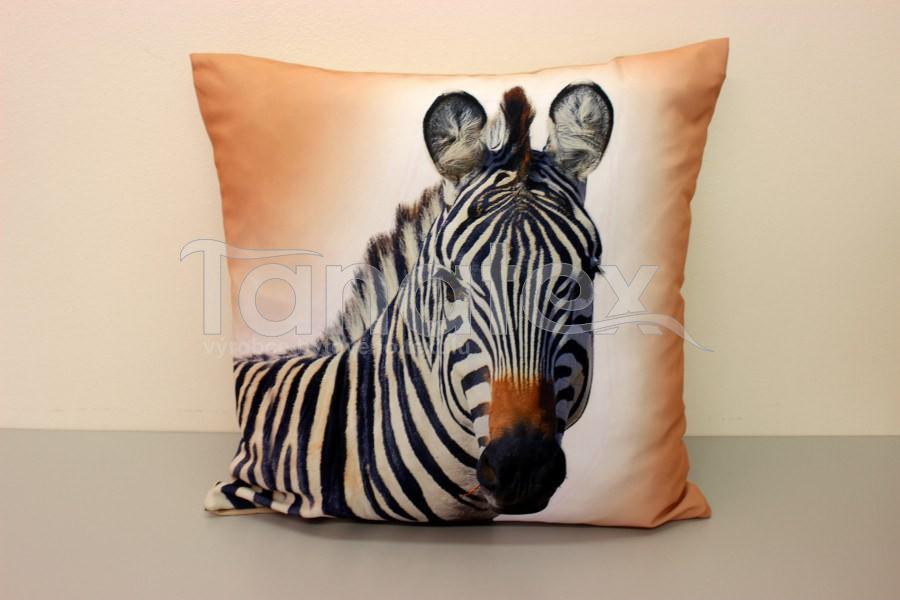 Fotopolštář zebra v béžovém - Fotopolštář zvíře