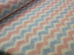 Metráž 150cm Růžový a modrý cik cak metráž - Bavlna - bavlna se vzorem