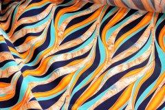 Viskóza 100% - Oranžové vlny na tmavě modré metráž - metráž viskóza 100%