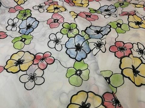 Metráž Louka ve velkém stylu - bavlna se vzorem