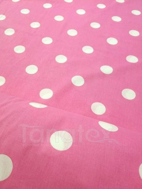 Metráž 150cm Puntík na růžové - bavlna se vzorem